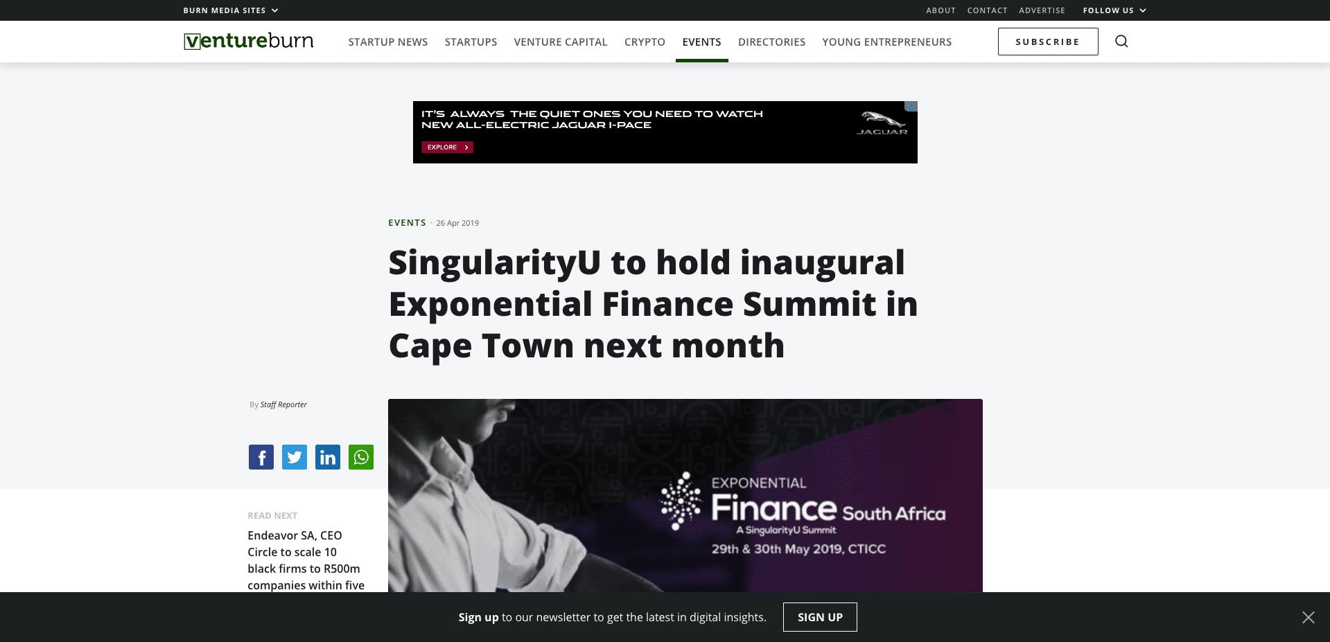SingularityU to hold inaugural Expone_ - https___ventureburn.com_2019_04_si